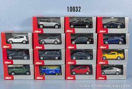 Konv. 15 Schuco Junior Line Modellfahrzeuge, dabei Pkw, Lieferwagen usw., lack. Metallgußausf., M