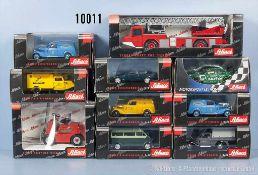Konv. 10 Schuco Modellfahrzeuge, dabei Pkw, Lieferwagen, Einsatzfahrzeuge usw., Metallausf.,