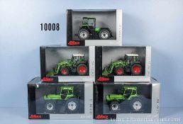 Konv. 5 Schuco Die Cast Modelle Traktoren, dabei Deutz Fahr IN-trac 6.60, 2 x Fendt 313 Vario mit