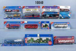 Konv. über 50 Siku Modellfahrzeuge, dabei Omnibusse, Lkw, Straßenbahnen usw., lack.