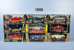 Konv. 9 Bburago Modellfahrzeuge, dabei Pkw, Oldtimer und Sportwagen, Metallausf., M 1:18, sehr guter