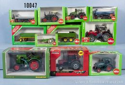 Konv. 6 landwirtschaftliche Fahrzeuge und 5 Anhänger, dabei Massey Ferguson, Deutz F1L514/51, Case