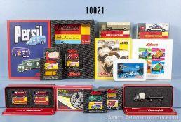 Konv. 23 Schuco Piccolo Modellfahrzeuge, dabei Lieferwagen, Rennwagen, Lkw, Abschleppwagen usw.,