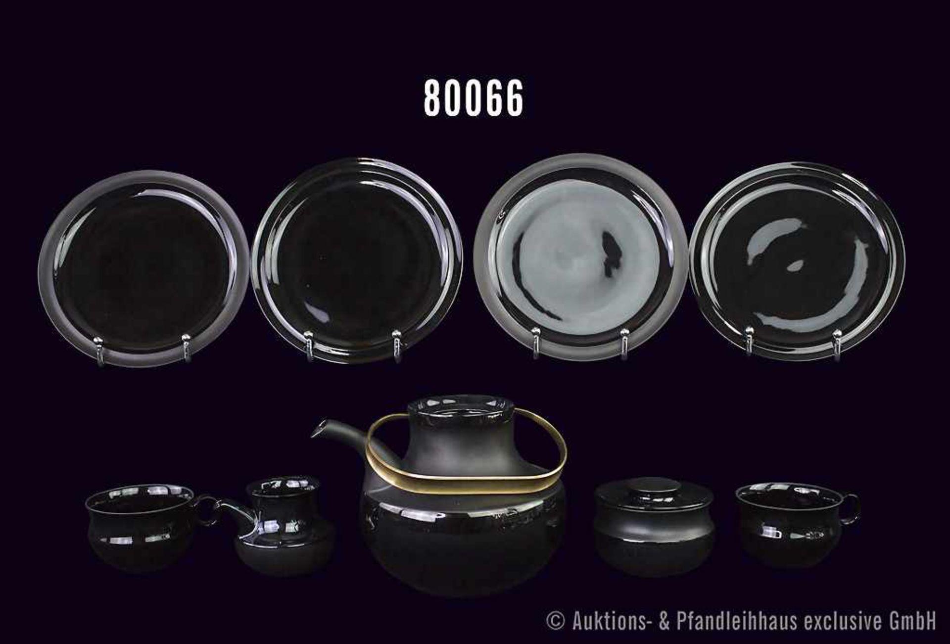 Konv. 14 Teile Rosenthal Porzellan, Tee-Service Assam, schwarz, Künstler Taipo Wirkkala, dabei 1