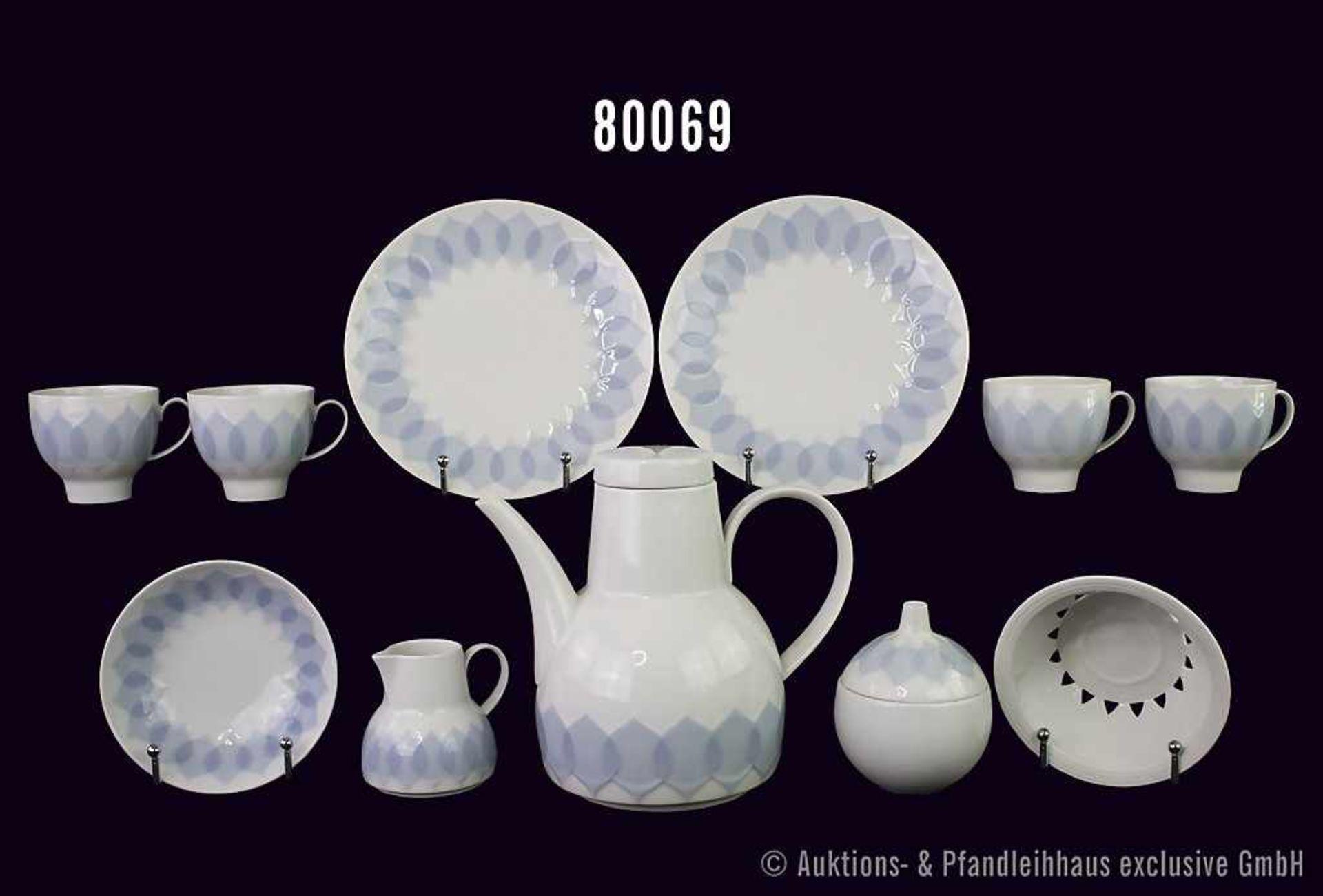 "Konv. 22 Teile Rosenthal Porzellan, Art ""Lotus"", Entwerfer (Form) Björn Wiinblad, Dekor Kobalt,"