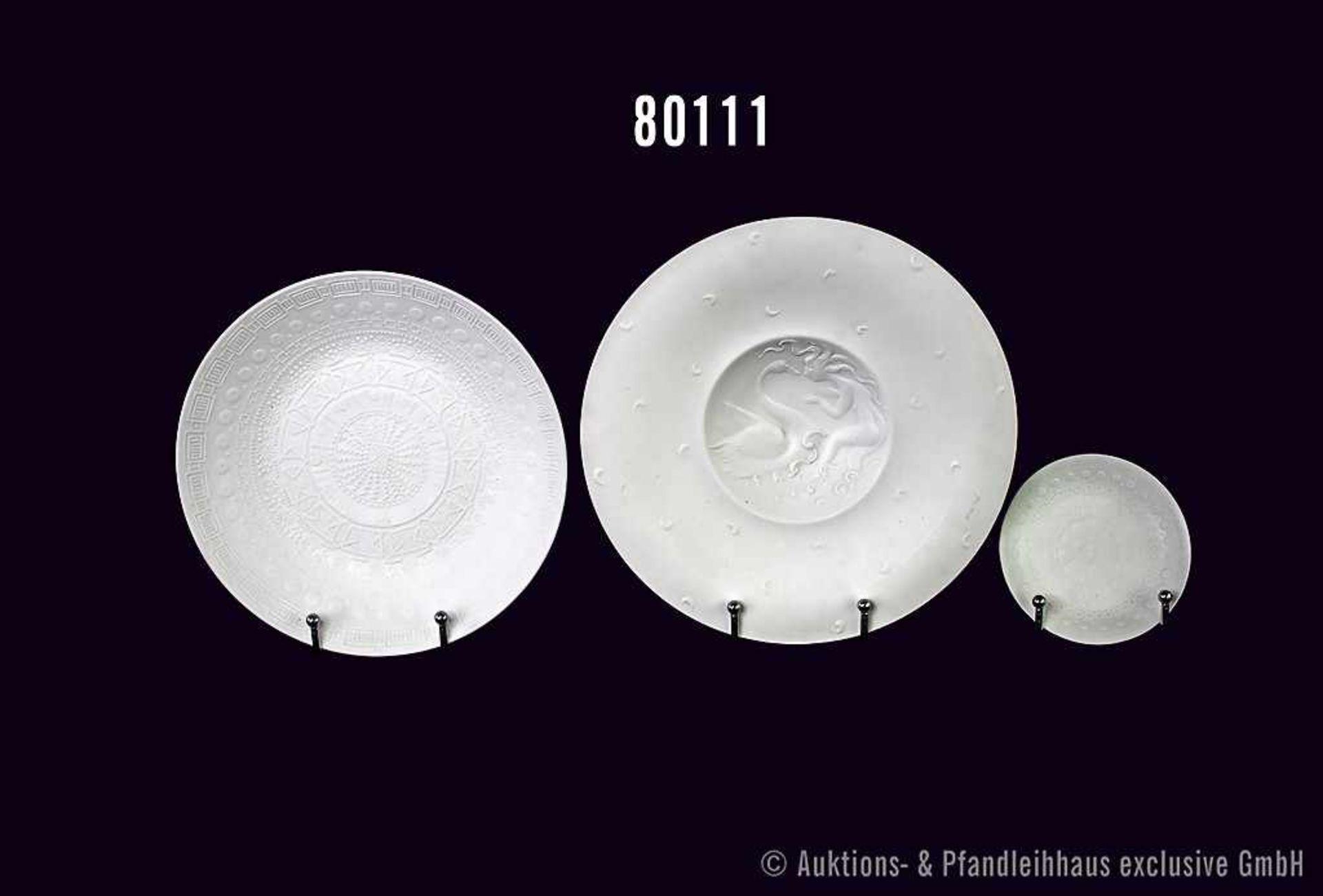 Konv. 3 Teile Rosenthal Porzellan, weiß matt, dabei 1 Schale D 25 cm, runde Prägung auf