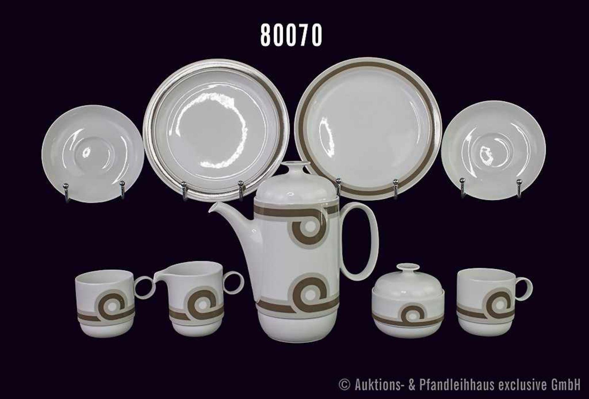Konv. Rosenthal Porzellan Kaffee-Service 6-teilig, studio-linie, Form duo, Künstler Ambrogio Pozzi