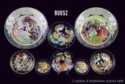 Konv. 19 Teile Rosenthal Porzellan, alles von Künstler Björn Wiinblad, dabei 2 x Der