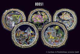 """Konv. 11 Rosenthal Porzellan eckige Teller """"Weihnachtslieder"""", Künstler Björn Wiinblad, 2 x 1983,"""