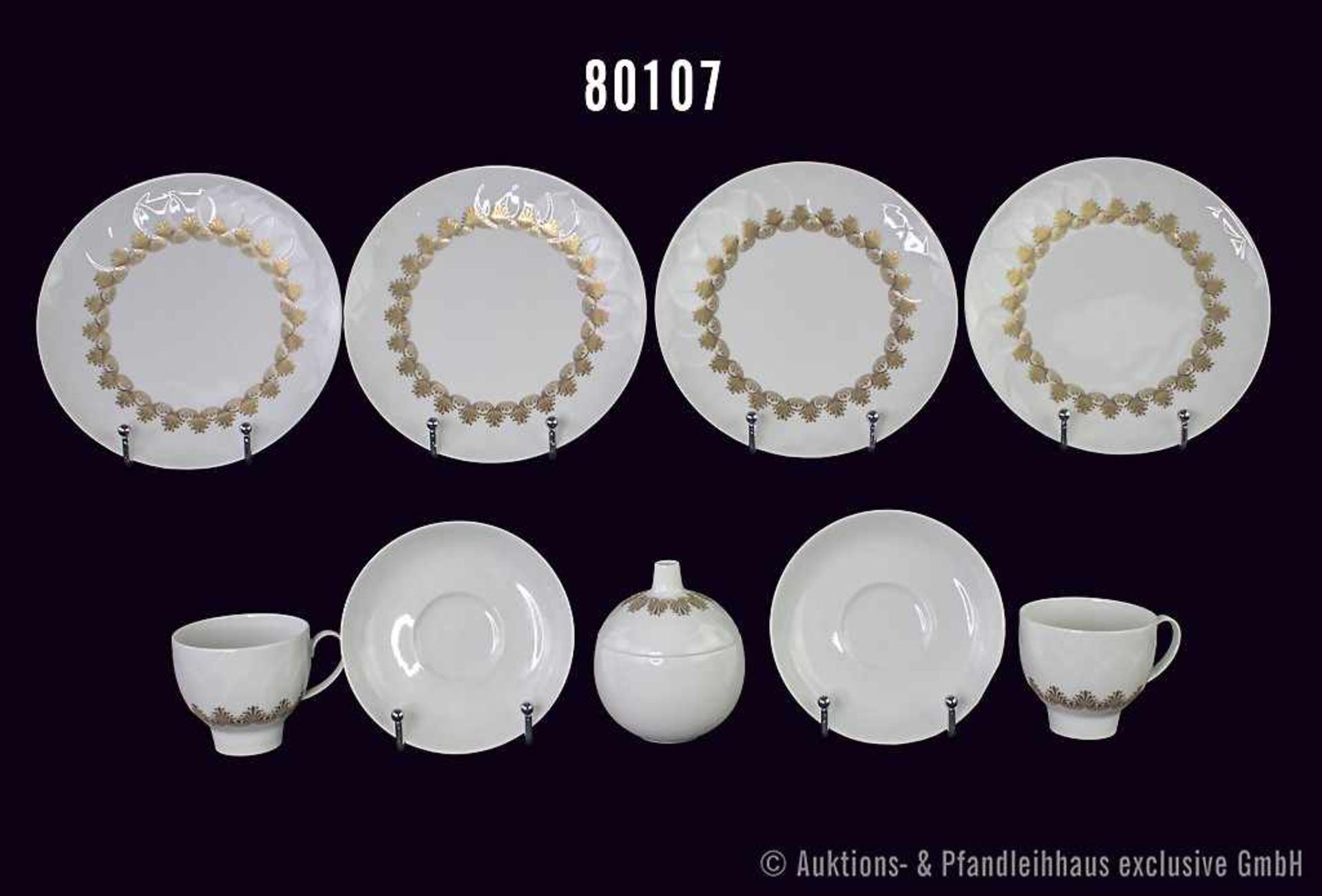 "Konv. 14 Teile Rosenthal Porzellan, studio-linie, Serie ""LOTUS"", Modell Nr. 800, Goldbodüre,"