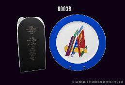 Konv. Rosenthal Porzellan, Vase und Wandteller mit Buchstabendekor, Künstler Morandini, Vase H 23