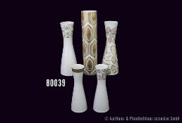 Konv. 5 Rosenthal Porzellan Vasen, dabei 4 x Form 2000, 1 x Idyll in Gold Nr. 25, H bis 30 cm, guter