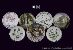 """Konv. 14 Teller Rosenthal Porzellan, versch. Motive, u. a. Blumen, Park, Schlösser, Satire Teller """""""