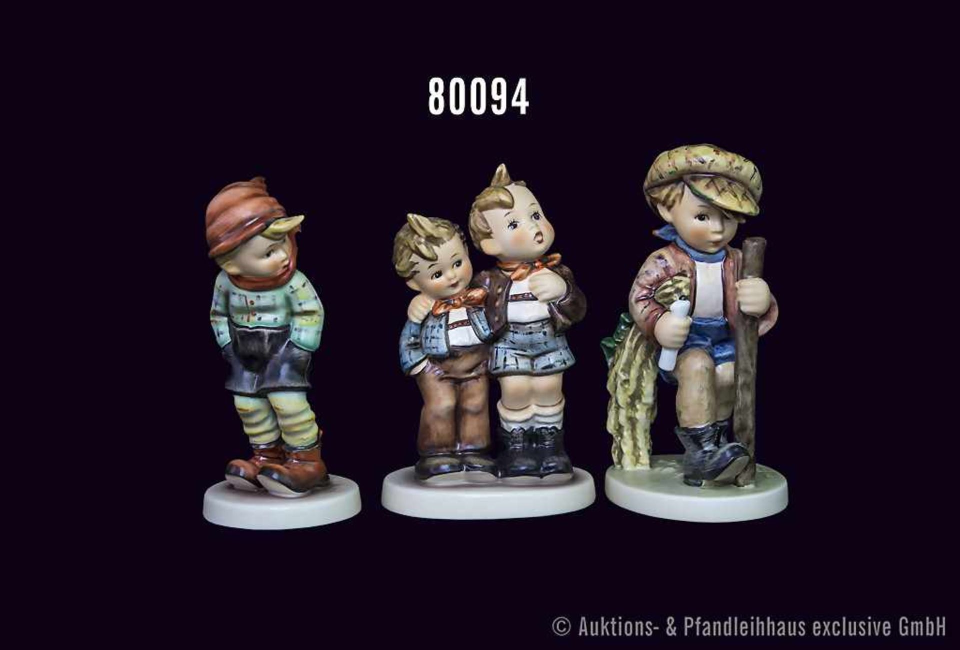 """Konv. 3 Goebel Hummel Figuren, Nr. 386 """"Auf heimlichen Wegen"""", Nr. 43 """"Lausbub"""" und Nr. 123 """"Max und"""