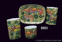 Konv. 4 Teile Rosenthal Porzellan, 3 Vasen und 1 ovale Schale, Künstler Björn Wiinblad, Dekor