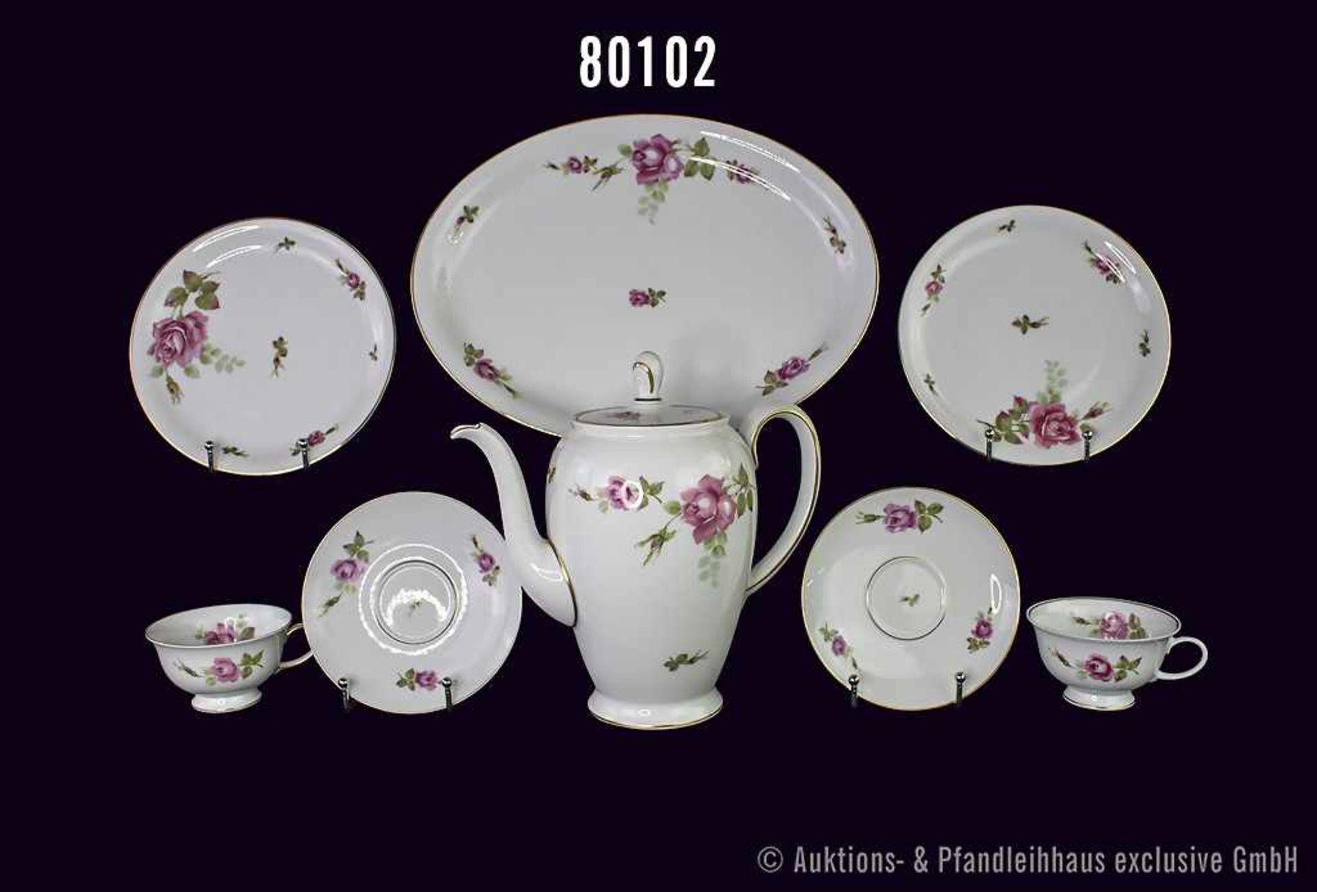 Konv. 32 Teile Rosenthal Porzellan, Serie AIDA, Dekor Rote Rose mit Goldrand, dabei 1 ovale Platte L