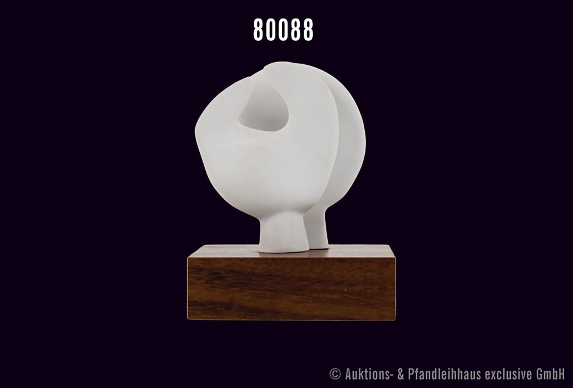 """Rosenthal Porzellan, Skulptur von Henry Moore, Titel """"Moonhead"""", weißes Porzellan auf Holzsockel,"""