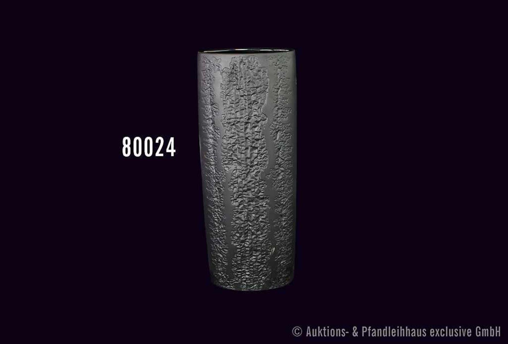 Rosenthal Porzellan Vase, schwarz mit Reliefmuster, H 40 cm, Entwurf Martin Freyer, 3080/38, sehr