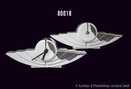 "Konv. 2 Rosenthal Porzellan Uhren, Künstleruhr ""Time wings"", Entwurf Yang, L 27 cm, H 9,5 cm,"