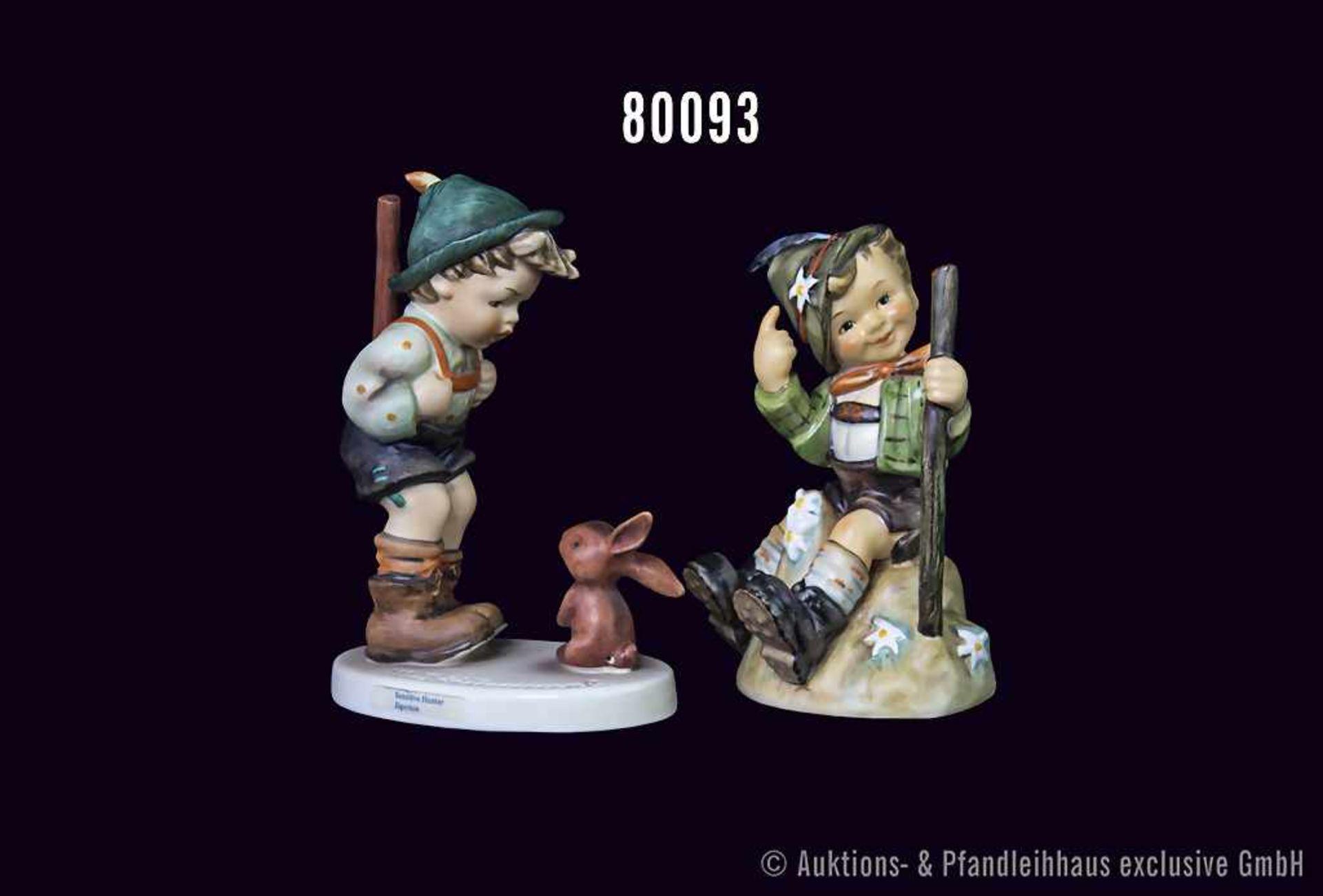 """Konv. 2 Goebel Hummel Figuren, Nr. 6/I """"Jägerlein"""" und Nr. 315 """"Ich hab's erreicht"""", H bis 14 cm,"""