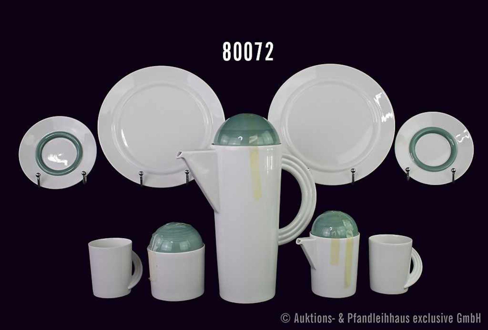 Konv. Rosenthal Porzellan, Kaffee-Service 6-teilig, Cupola (Form 18600), Dekor mintgrün, dabei 1