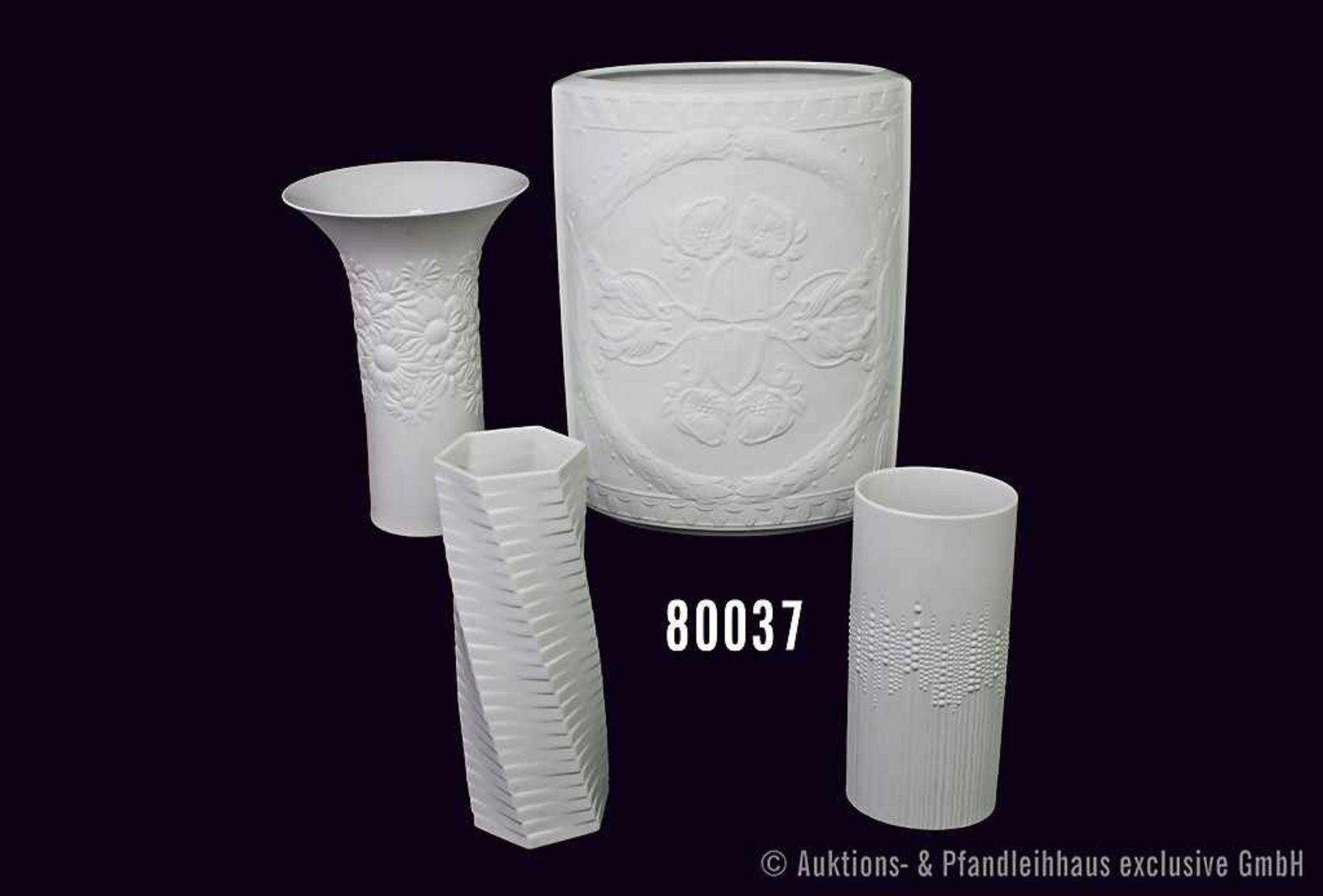 Konv. 4 Rosenthal Porzellan Vasen, weiß, dabei studio-linie, Entwurf Ernst Fuchs, Nr. 4079/27,