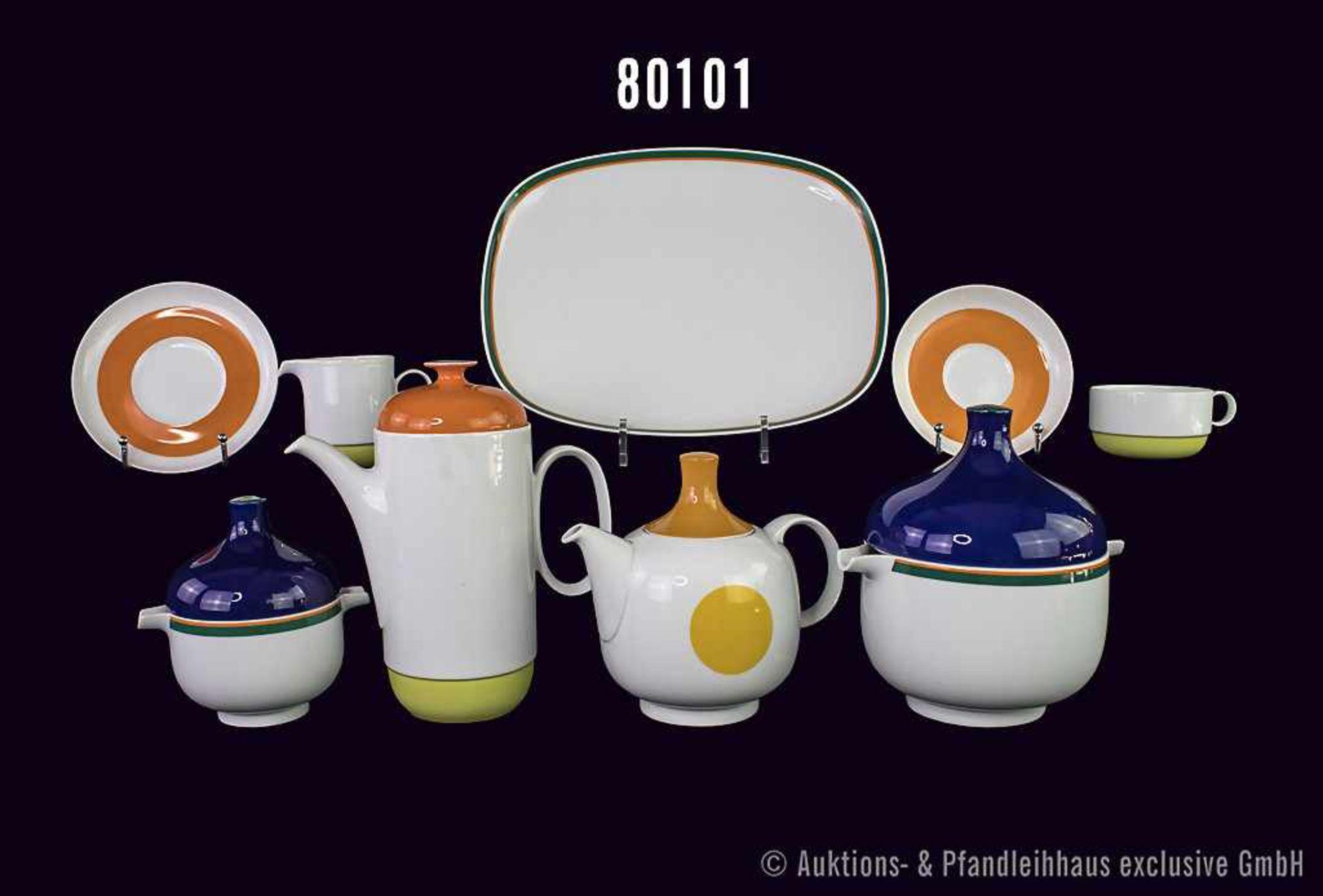Konv. 14 Teile Rosenthal Porzellan, dabei 4 Teile studio-linie, Serie plus, weiß mit grünorangenem