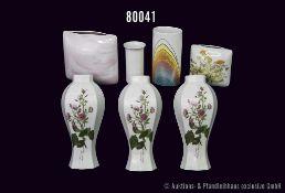 Konv. 7 Rosenthal Vasen, versch. Dekore, dabei 3 Wandvasen Ch'ing Dynsty, K'Ang HSI, H bis 20,5 cm