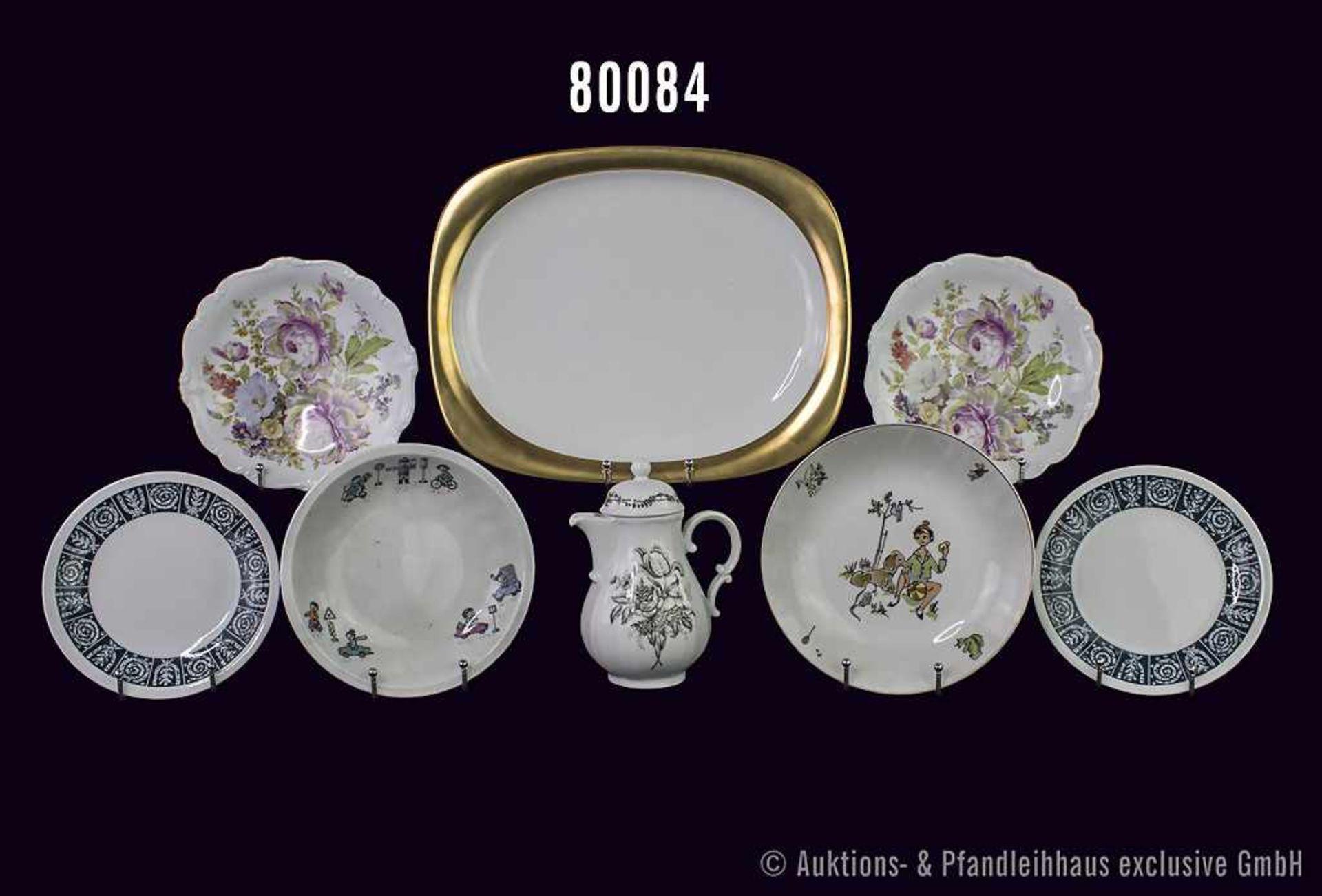 Konv. 17 Teile Porzellan, von Rosenthal, Schönwald und Thomas, dabei Teller, Schalen, Kinderteller