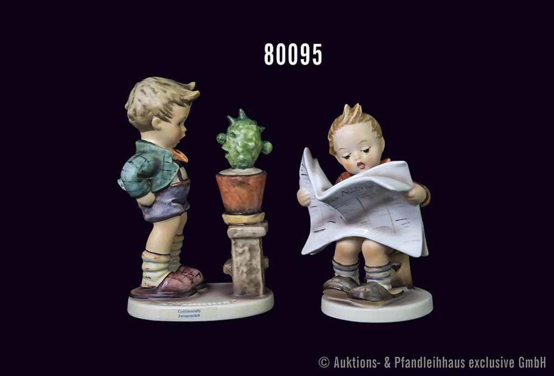 """Konv. 2 Goebel Hummel Figuren, Nr. 184 """"Das Allerneueste"""" und Nr. 314 """"Zwiegespräch"""", H bis 13,5 cm,"""
