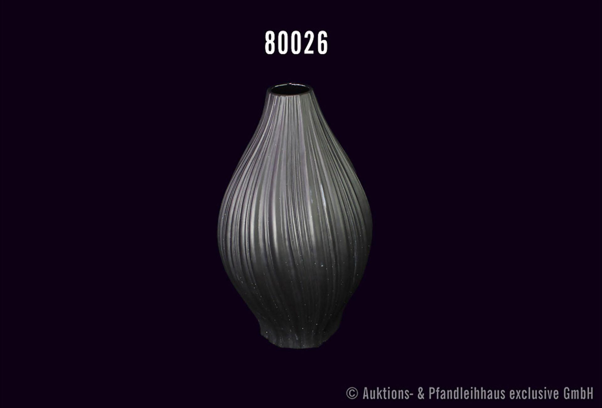 Rosenthal Porzellan Vase, schwarz, Plissee Vase, Entwurf Martin Freyer 1968, H 33 cm, Vase ist