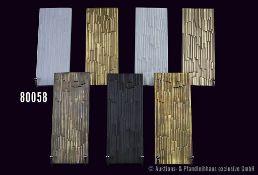 Konv. 7 Rosenthal Porzellan Kacheln/Reliefs, studio-linie, 1 x schwarz, 2 x weiß und 4 x gold, 8 x