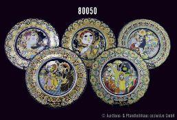 Konv. 14 Rosenthal Porzellan Weihnachtsteller, Künstler Björn Wiinblad, limitierte Kunstreihen,