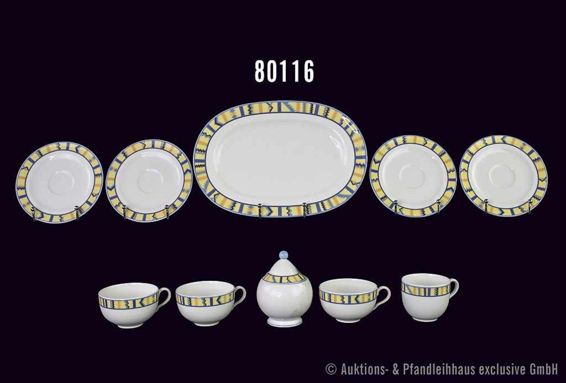 """Konv. 15 Teile Villeroy & Boch Fine Vilbo Porzellan, Dekor """"Bali Look"""", dabei 1 ovale Platte 29"""