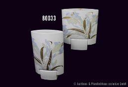 """Konv. 2 Rosenthal Porzellan Vasen, Design von Michel Boehm """"Debut"""", Blumendekor, H bis 29 cm, sehr"""