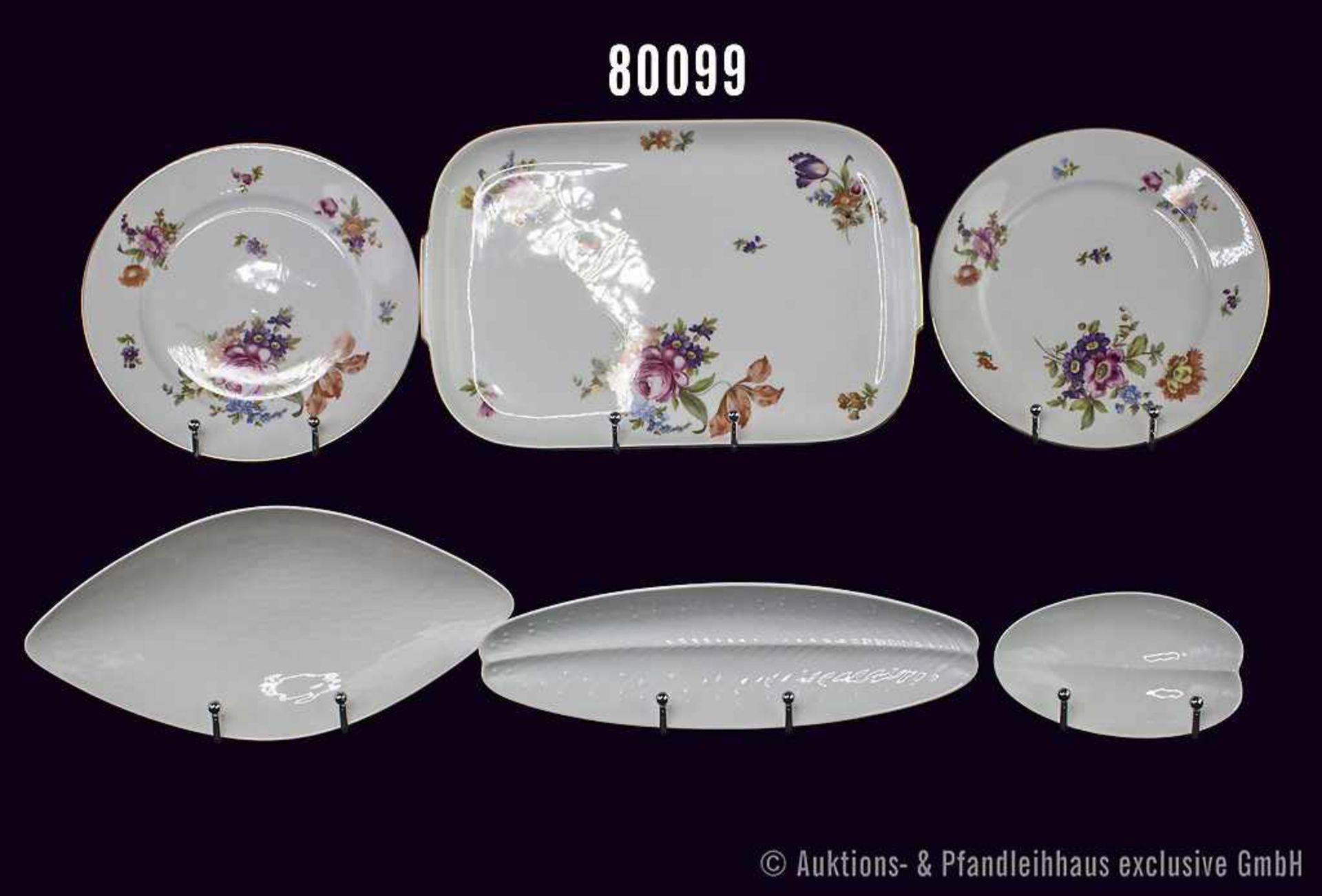 Konv. 11 Teile Rosenthal Porzellan, dabei Dekor Aida mit Blumenbuketts 50er Jahre, 1 Platte L 32