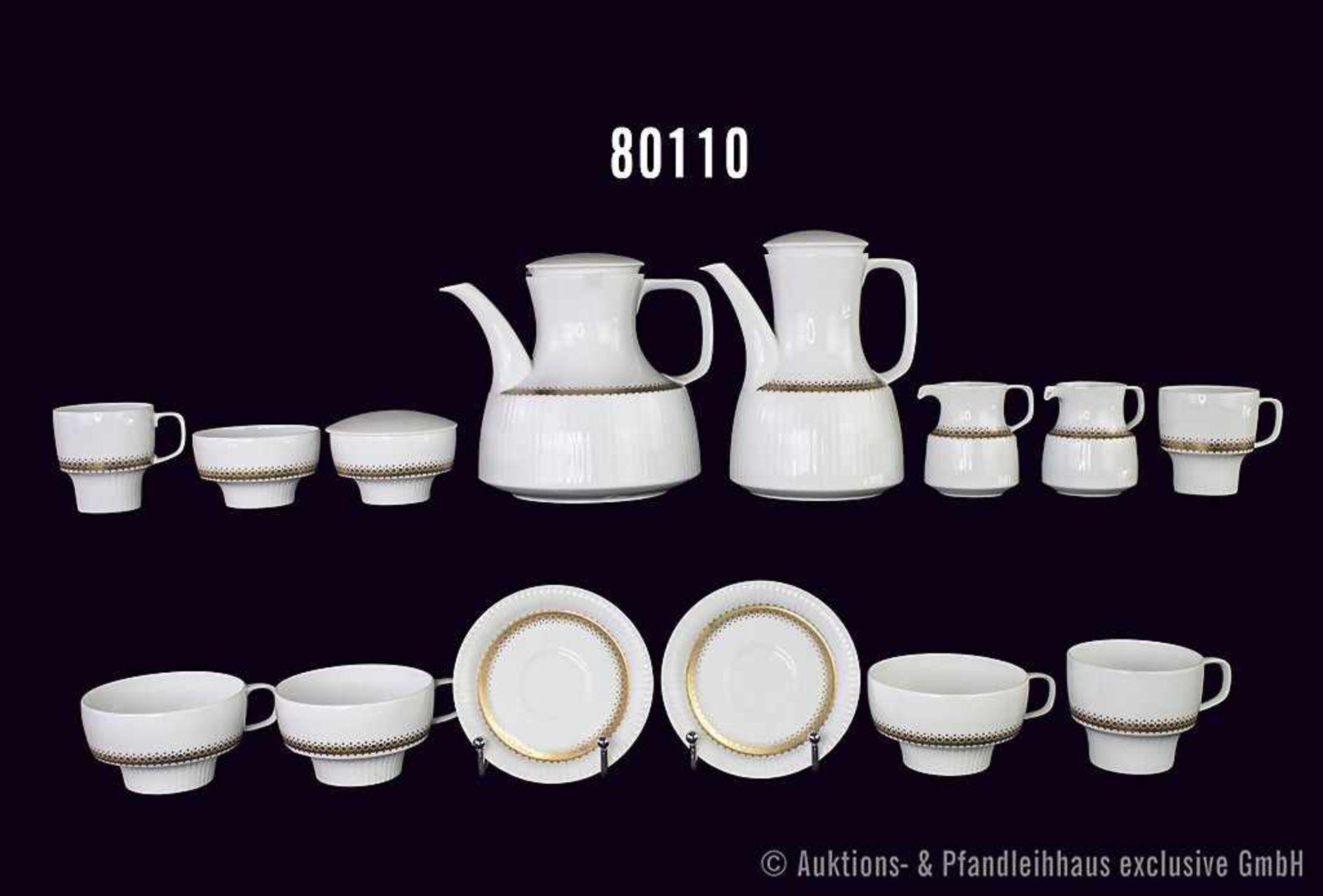 Konv. 14 Teile Rosenthal Porzellan, Serie Modulation, Dekor Goldrondell, Künstler Tapio Wirkkala,