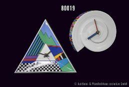 Konv. 2 Rosenthal Porzellan Künstleruhren, 1 x Entwurf Ambrogio Pozzi und 1 x Barbara Brenner,