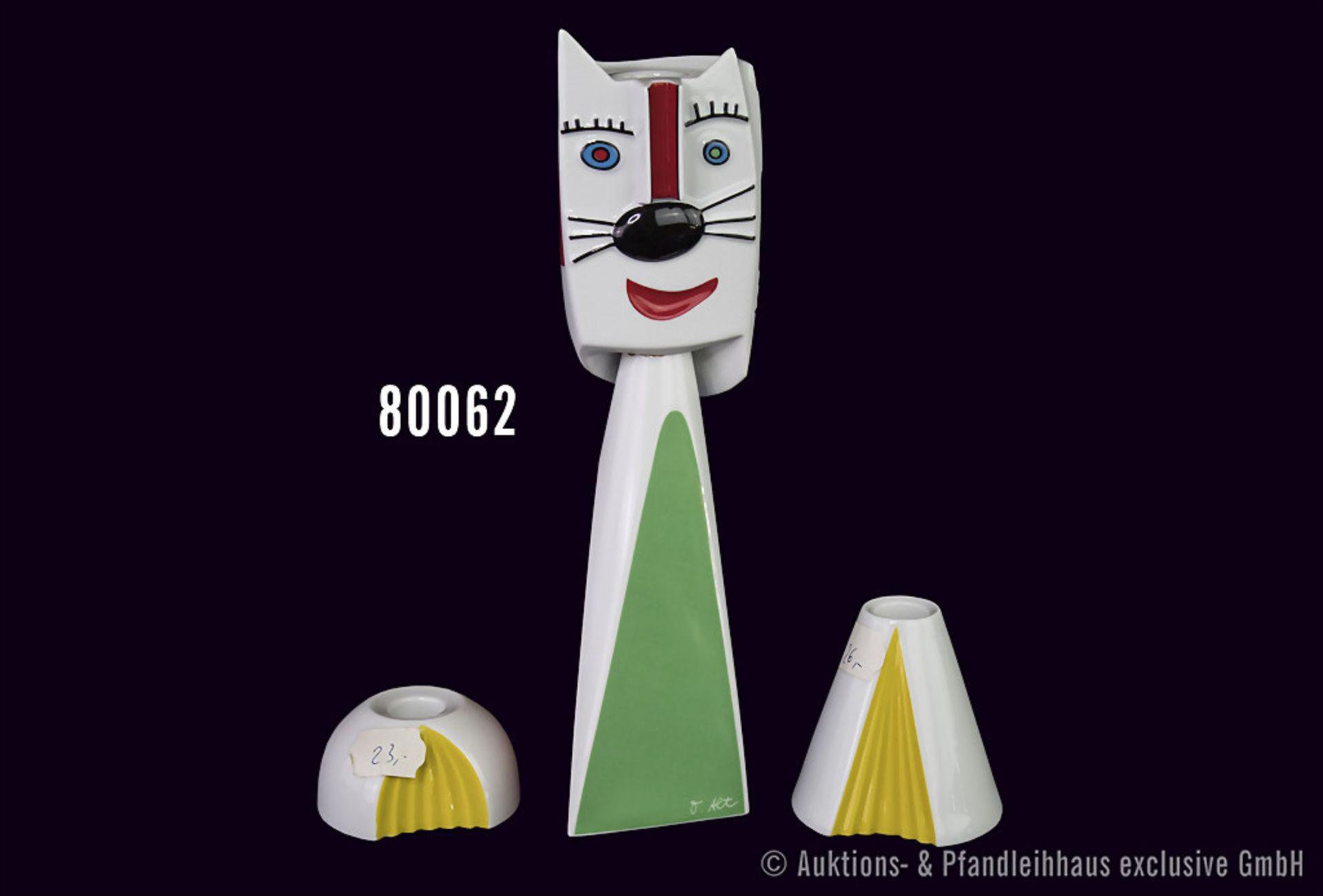 """Konv. 3 Rosenthal Porzellan Leuchter, dabei """"Cat-Light"""", maskulines Portrait der Katze mit 2"""