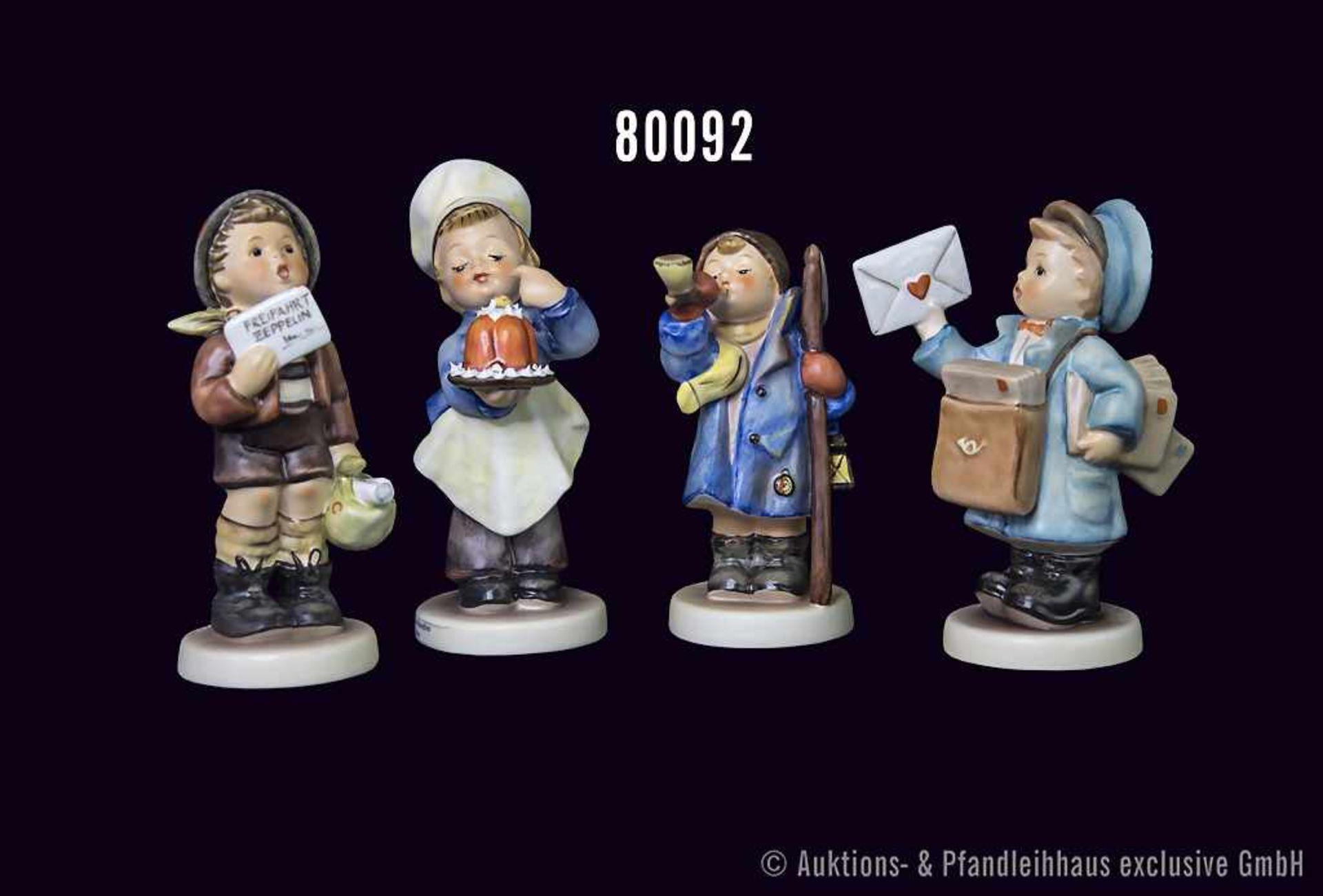 """Konv. 4 Goebel Hummel Figuren, Nr. 128 """"Der kleine Konditor"""", Nr. 15 """"Hört Ihr Leut,"""