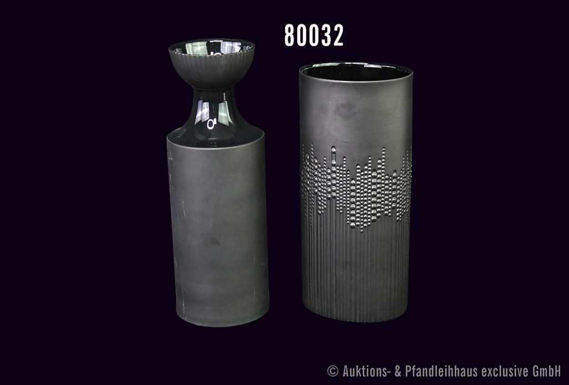 Konv. 2 Rosenthal Porzellan Vasen, schwarz, beide von Tapio Wirkkala, 1 x ca. 1970er Jahre, Nr.