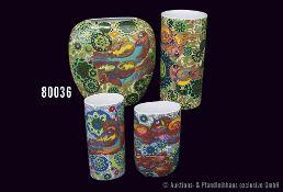 Konv. 4 Rosenthal Porzellan Vasen, Künstler Björn Wiinblad, Dekor Feuervogel, H bis 22,5 cm, sehr