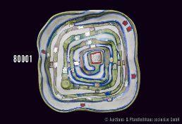 Rosenthal Porzellan, Wandrelief, Spiralentalteller von Friedensreich Hundertwasser, limitierte