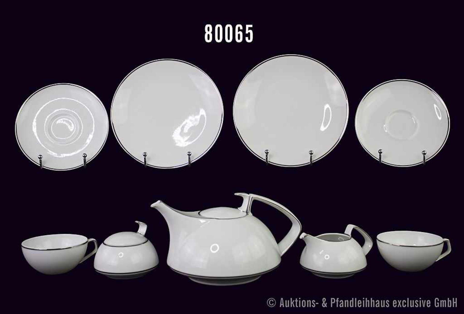Konv. Rosenthal Porzellan Tee-Service 6-teilig, Form TAC, Dekor mit Silberrand, dabei 1 Teekanne,