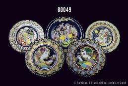 Konv. 6 Rosenthal Porzellan Teller, Künstler Björn Wiinblad, dabei 2 Wandteller Concertina I und II,