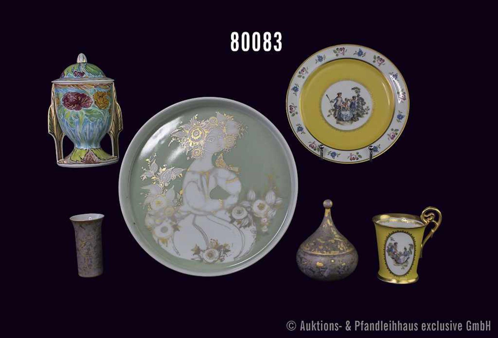 Konv. 6 Teile Rosenthal Porzellan, dabei Künstlertasse Nr. 28 mit Deckel, von Ernst Fuchs, Schale