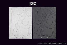 Konv. 2 Rosenthal Porzellan Wandteller, weißes und schwarzes Biskuitporzellan, küssendes Paar, 28