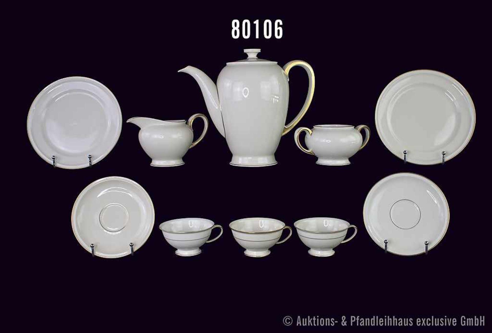 "Konv. 49 Teile Rosenthal Porzellan, Motiv ""Winifred"" 1935, mit Goldrand, dabei 1 Kaffeekanne mit"