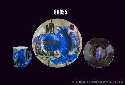 "Konv. 3 Teile Rosenthal Porzellan, Künstler Rainer Fetting 1996, Dekor ""Der Pelikan"", Form 18600,"