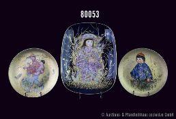 Konv. 3 Rosenthal Porzellan Teile, Classic Rose Edition, Künstlerlin Edna Hibel, limitiert, dabei